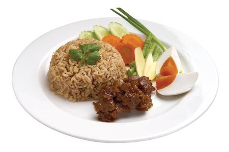 Thai Food - Thai Spicy Shrimp Paste Fried Rice 스톡 콘텐츠