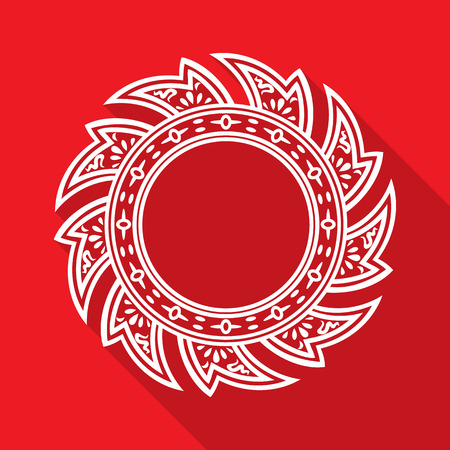 Abstract Thai style white Rowel isolated on red background. vector illustration