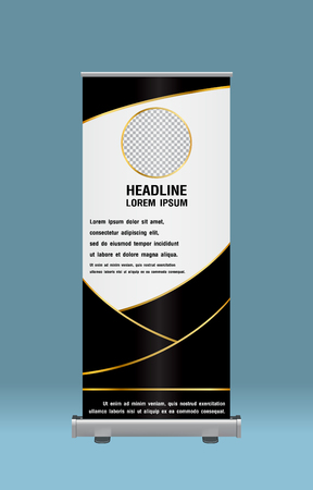 Gold and black Roll Up Banner template vector illustration. 일러스트