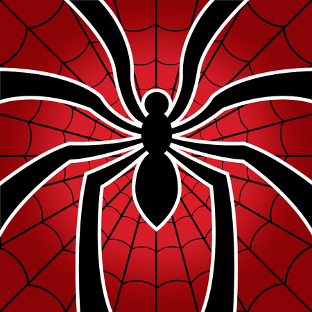 spider and web on red background. vector illustration