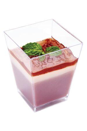 Thai Dessert - Strawberry Pudding on square glass
