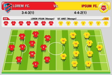 Status Plan Team Football Player.vector illustration