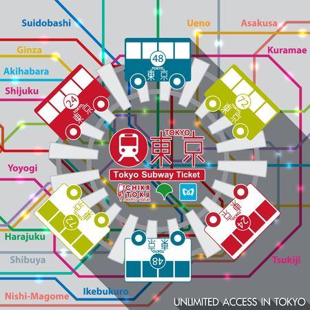 Tokyo Subway pass. vector illustration 일러스트