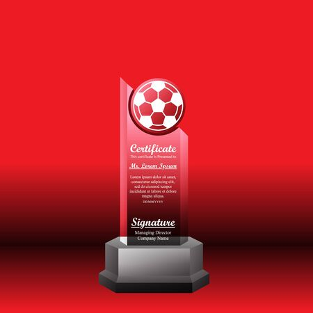 Crystal trophy certificate design template on red background. Banco de Imagens - 125907851