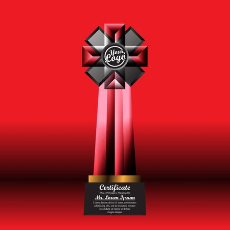 Crystal trophy certificate design template on red background. 일러스트