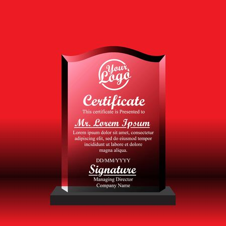 Crystal trophy certificate design template on red background. Banco de Imagens - 125907854