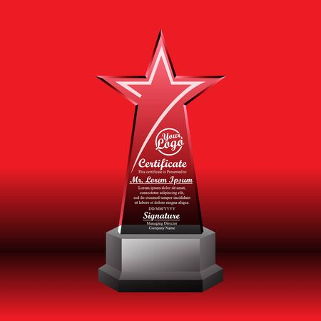 Crystal trophy certificate design template on red background. 矢量图像