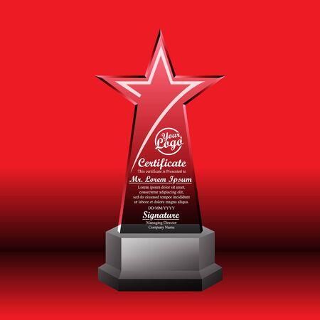 Crystal trophy certificate design template on red background. Illustration