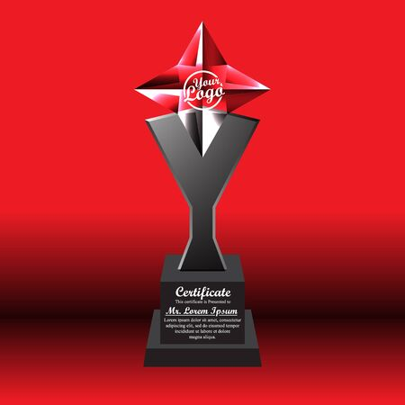 Crystal trophy certificate design template on red background. Banco de Imagens - 125907860