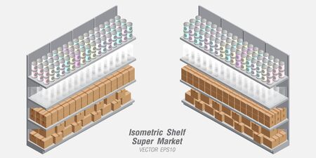 isometric Shelf Supermarket Background Banco de Imagens - 125907818