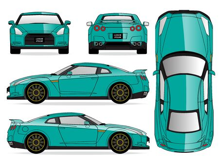 Green car vector template on white background. Sport Car isolated. Banco de Imagens - 125907827