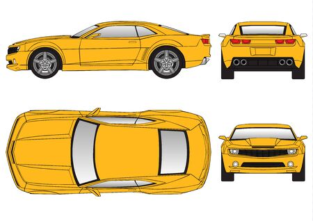 Yellow car vector template on white background. Sport Car isolated. Banco de Imagens - 125907828
