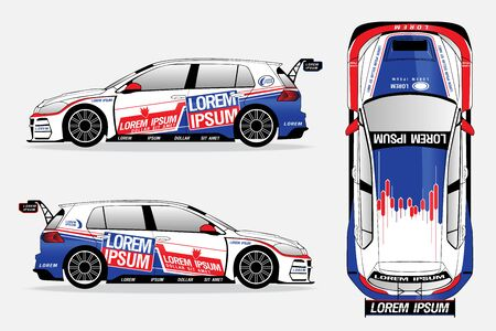 white sport car vector template on white background. 일러스트