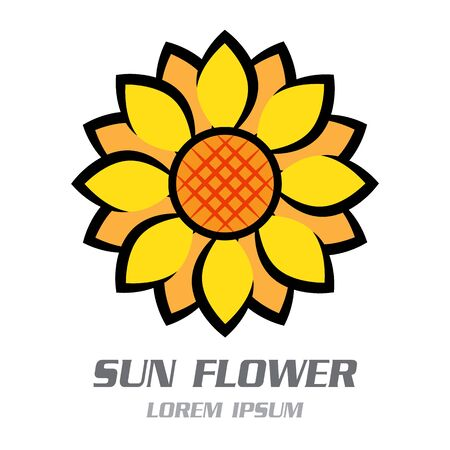 Sun Flower Symbol Logo. Vector illustration Banco de Imagens - 125907830
