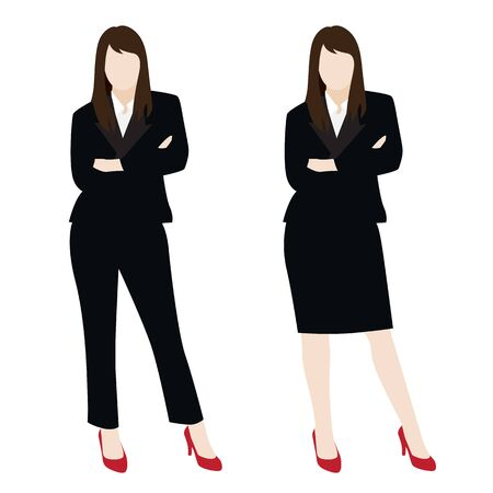 vector of smart business woman in black suit isolated on background