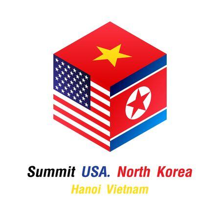 Dice Flag Summit Usa North Korea Vietnam. vector illustration