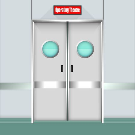 Operation Room Door. Vector Illustration Illustration