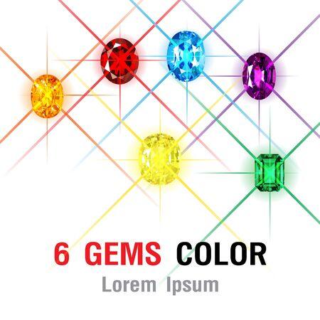 6 Gems isolated on white background. Vector illustration Banco de Imagens - 125907750