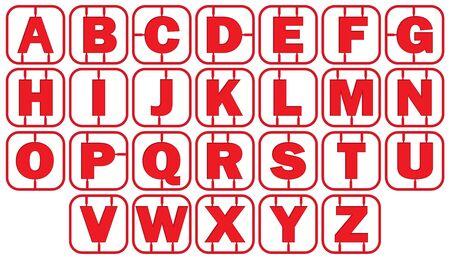 Alphabet Model style with red frame. vector illustration Banco de Imagens - 125907754