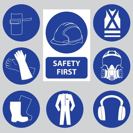 Safety Sign Icon for Poster Sign in Factory. Vector Illustration Banco de Imagens - 125907758