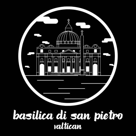 Circle icon line Basilica di San Pietro. vector illustration