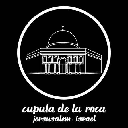 Circle icon line Cupula de la Roca. vector illustration Illustration