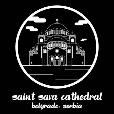 Circle icon line Saint Sava Cathedral. vector illustration