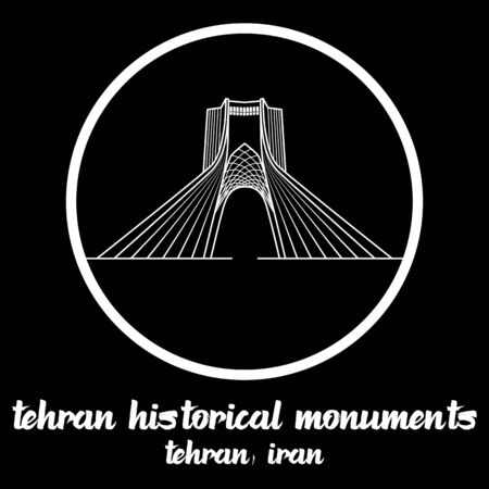 Circle icon line Tehran Historical Monuments Iran icon. vector illustration