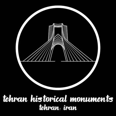 Circle icon line Tehran Historical Monuments Iran icon. vector illustration