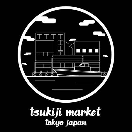 Circle icon line Tsukiji Market. vector illustration 일러스트