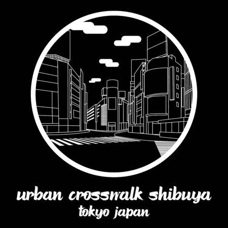 Circle icon line Urban Crosswalk Shibuya Tokyo Japan. vector illustration