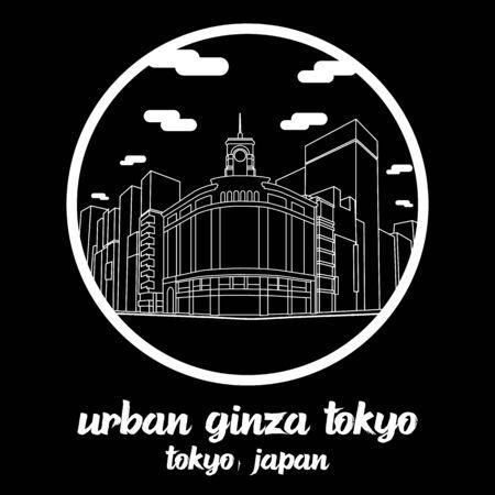 Circle icon line Urban Ginza Tokyo Japan. vector illustration