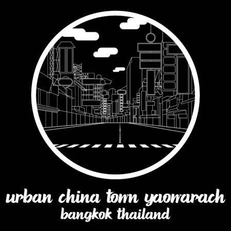 Circle icon line Urban China Town Yaowarach. vector illustration