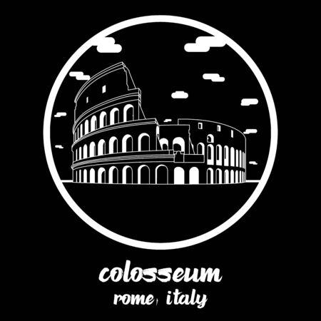 Circle icon line colosseum. vector illustration Illustration