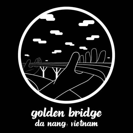 Circle icon line Golden Bridge in Da Nang Vietnam. icon vector illustration