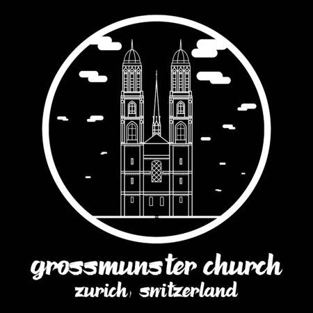 Circle icon line Grossmunster church in zurich Switzerland. icon Illustration