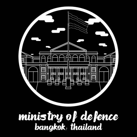Circle icon line Ministry of Defence of Thailand in Bangkok Thailand. icon vector illustration Illustration