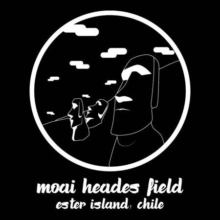 Circle icon line Moai Heades Field. vector illustration