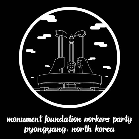 Circle icon line Monument Foundation of Workers Party in Pyongyang North Korea. icon vector illustration Standard-Bild - 133311209