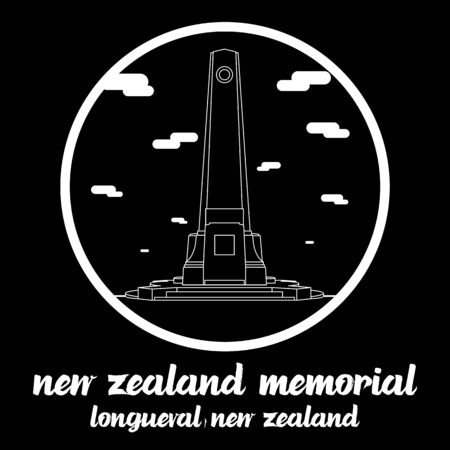 Circle icon line New Zealand Memorial in Longueval New zealand. icon vector illustration