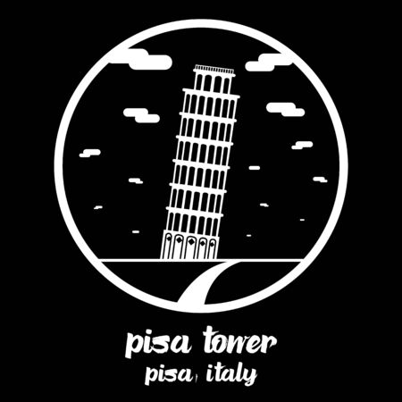 Circle icon line Pisa Tower. vector illustration