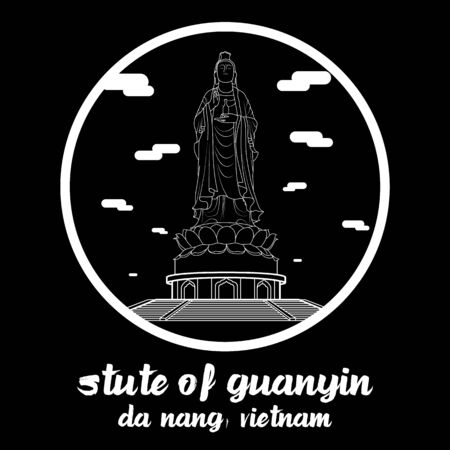 Circle icon line Statue of Guanyin. vector illustration