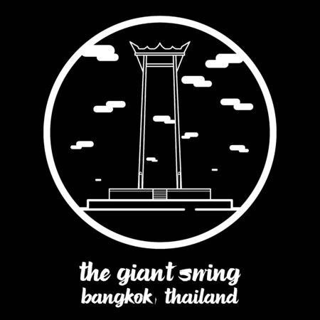 Circle icon line The Giant Swing. vector illustration