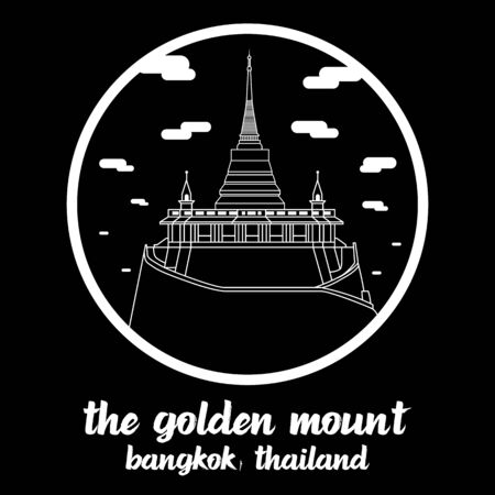 Circle icon line The Golden Mount. vector illustration
