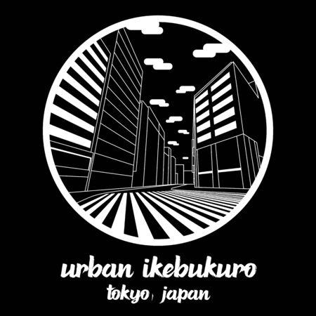 Circle icon line Urban Ikebukuro. vector illustration