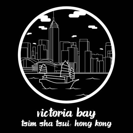 Circle icon line Victoria Bay. vector illustration