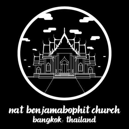 Circle icon line Wat Benjamabophit church. vector illustration 일러스트