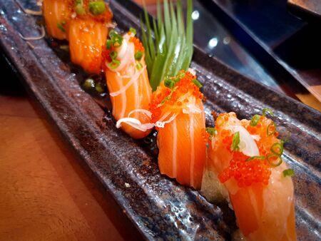 japanes food Sushi Salmon on dish