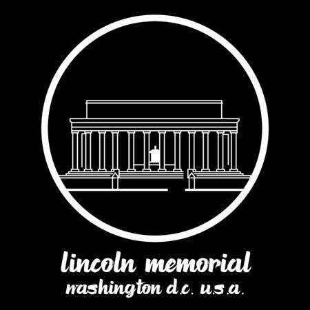 Circle Icon Lincoln Memorial. vector illustration