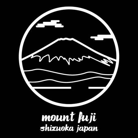 Circle icon line mount fuji. vector illustration 일러스트
